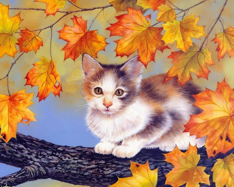 Painting of autumn cat. Jane Maday