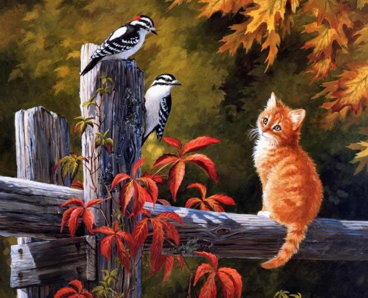 Painting of autumn cat. Persis Clayton Weirs