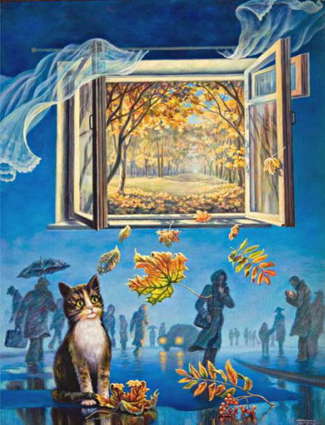 Painting of autumn cat. I. Gugel