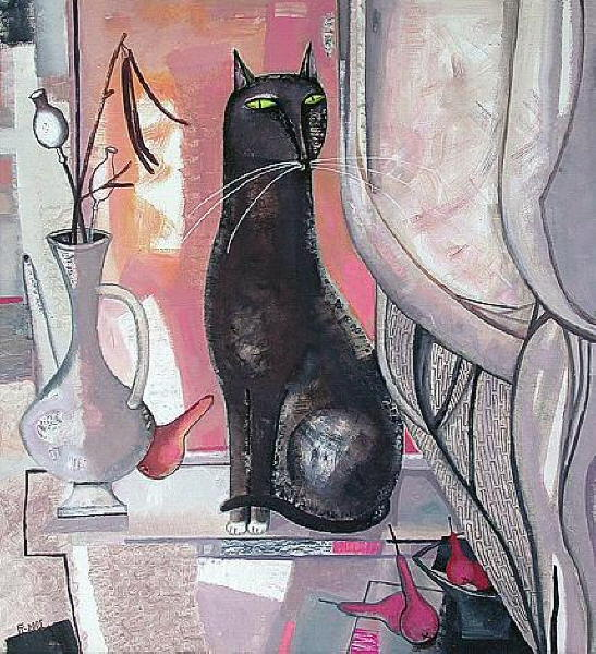 Painting of black cat. Tatyana Gorshunova