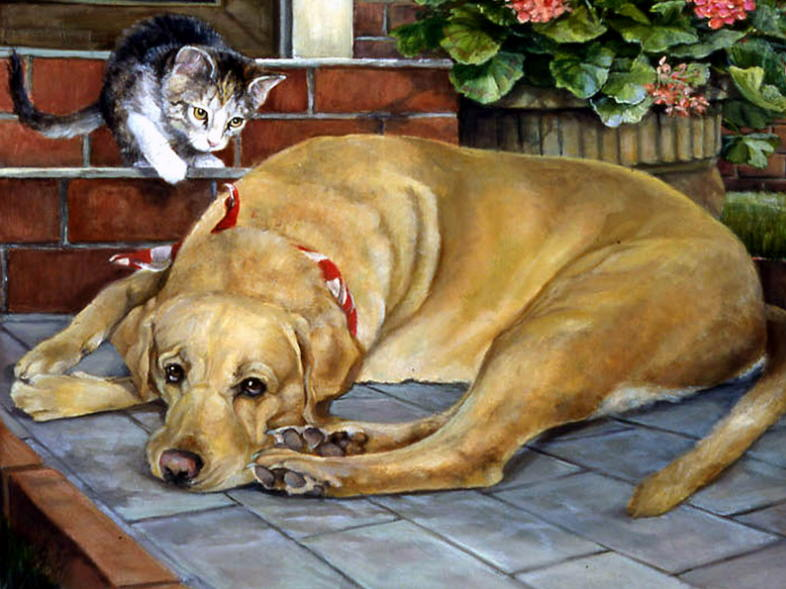 Paintings with dog and cat. Pat Durgin
