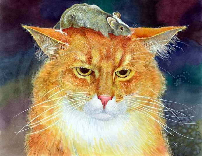 Paintings with mouse and cat. Ignatenko Igor