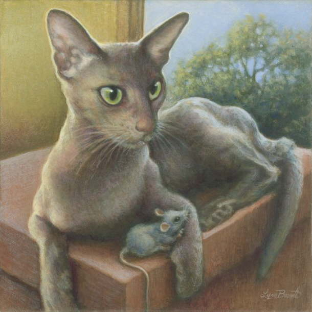 Paintings with mouse and cat. Lynn Bonnette