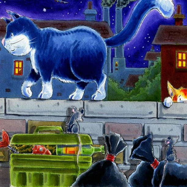 Paintings with mouse and cat. Peter Kyprianou