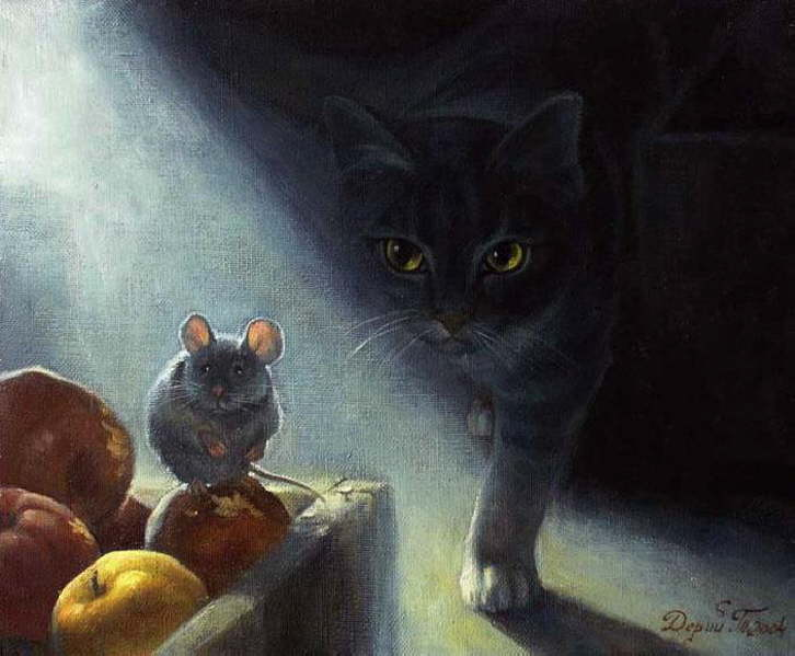 Paintings with mouse and cat. Tatyana Derij