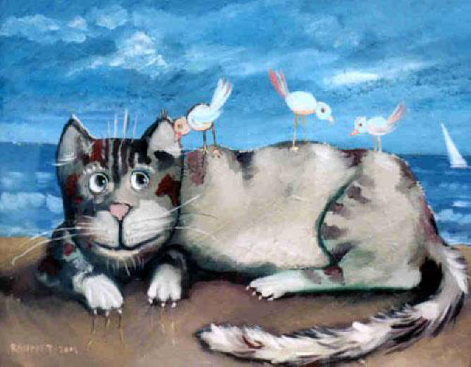 Painting with cat on the beach. Rahmet Redzepov