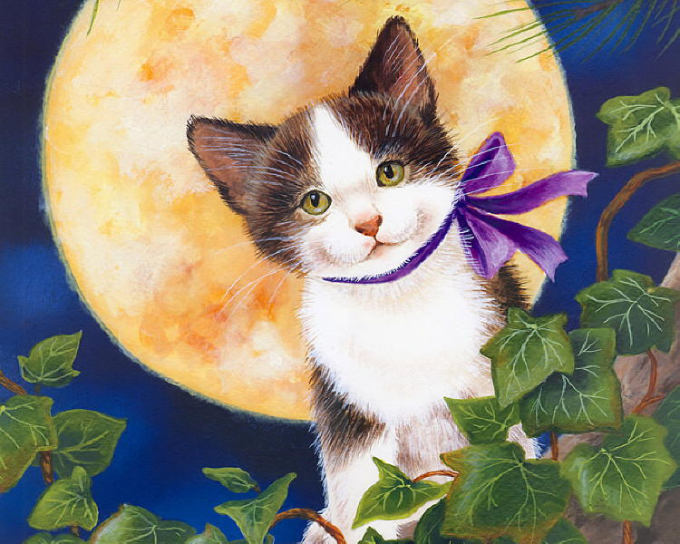 Painting of cat at night. Jane Maday