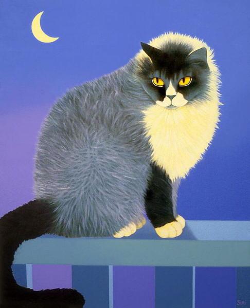 Painting of cat at night. Siri Schillios