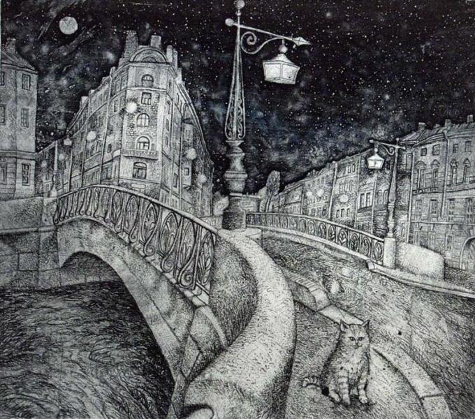 Painting of cat at night. l. Stroganov