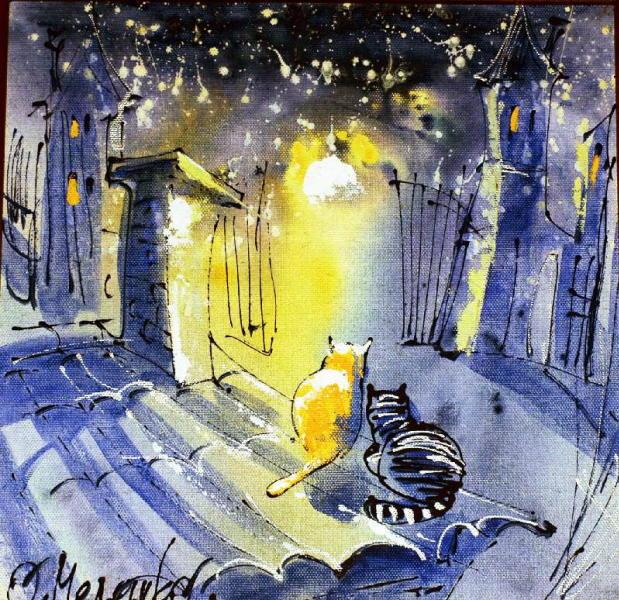 Painting of cat at night. Oleg Meleshko