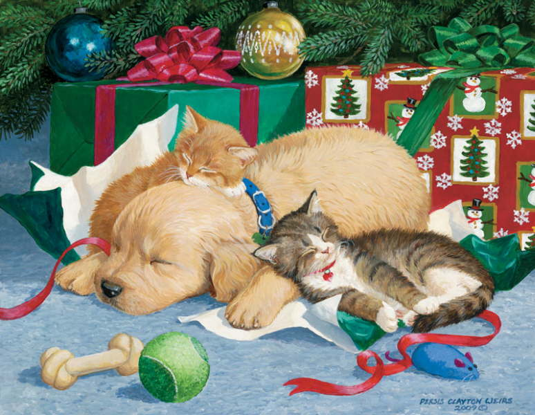 Christmas cats and New Year's cats painting. Persis
