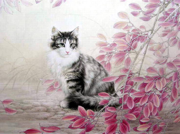 Painting of kittens. Xing Chengai