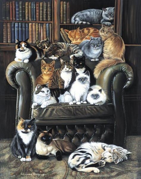 Painting with many cats. Pollyanna Pickering