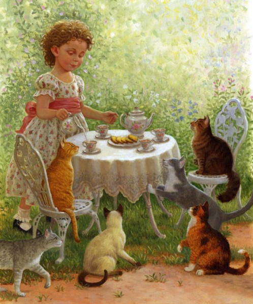 Painting with many cats. Ruth Sanderson