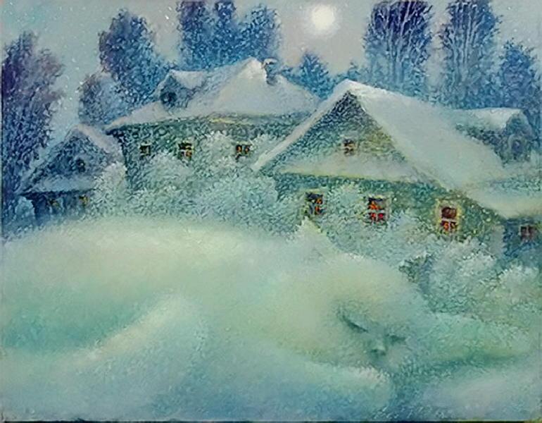 Winter cat paintings. Leonid Kolosov - Olga's Cat