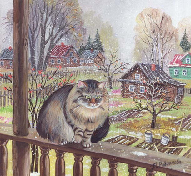 Painting of winter cat. Tatyana Rodionova