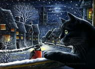 Night cat and bullfinch - Irina Garmashova